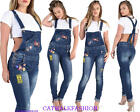 GIRLS  WOMENS LADIES DENIM BLUE DUNGAREES WITH BADGE EMBELLISHMENTS A4 JUMPSUIT