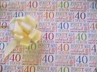 2 SHEETS GIFT WRAP 18TH 21ST 30TH 40TH 50TH 60TH 70TH TAGS BOWS BIRTHDAY PAPER