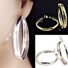 "#C10 NEW CLIP ON NON-PIERCED 12mm Wide 2.3"" Polished LARGE MODERN Hoop EARRINGS"