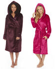 Ladies Flannel Hooded Dressing Gown Sizes From 8 up to Plus Size 22 (4XL)