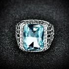 Mens Silver Stainless Steel Signet Baguette Blue CZ Crystal Wedding Ring Jewelry