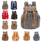 Unisex Sports Canvas Leather Sport Backpack Vintage Rucksack Hiking Camping Bag