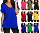 NEW LADIES OVERSIZED BAGGY V NECK SHORT ROLL SLEEVE T SHIRT PLUS SIZE 8-26