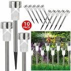ASAB 10 x Solar Powered Stainless Steel Garden Post Lights LED Outdoor Lighting