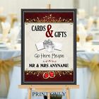 Personalised Wedding Cards & Gifts Post Box Sign Print N201 (Print Only)