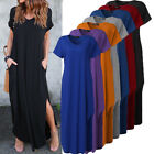 ZANZEA Women Summer V Neck Short Sleeve Plus Size Casual Maxi Long Dress Kaftan
