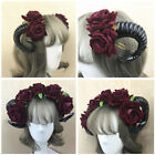 Halloween Sheep Horn Rose Flower Headband Clip Gothic Beauty Hair Accessories