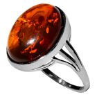 2.4g Authentic Baltic Amber 925 Sterling Silver Ring Jewelry N-A7504