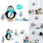 Cartoon Animal Wall Clock PVC DIY Wall Clock Decals Nursery Kids Room Decor