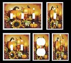 FALL HARVEST PUMPKINS GOURDS CANDLES PINE CONES SUNFLOWERS LIGHT SWITCH COVER P