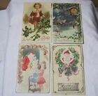Antique Embossed Christmas New Year Postcards w/ Santa Lot of 4    T*