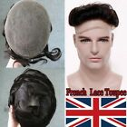 UK French Lace Toupee-Mens Hairpiece 100% Human Hair Natural Replacement System