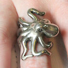 Silver 3D Sideways Octopus Ring  Squid 076