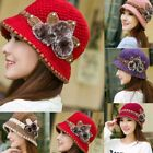 Ladies Women Winter Warm Crochet Knitted Ski Cap Flowers Decorated Ears Hat Cap