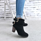 New Women Fashion Winter Ladies Low Heel Ankle Belt Buckle Martin Boots Shoes