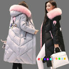 Fashion Womens Winter Warm Coat Fur Collar Hooded Down Cotton Overcoat Jacket