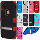 For Apple iPhone X Rubber IMPACT TUFF Hybrid KICKSTAND Case Phone Covers
