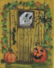 Hello Halloween Greeting Ghost Little Spider Jack O Lantern  Wall Art Print
