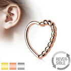 Braided Heart Bendable Ear Cartilage Tragus Daith Helix Silver Gold Rose 16g #R4