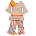 Rare Editions Baby Girls Taupe Stripe Flower Accent 2 Pc Pant Set 12-24M