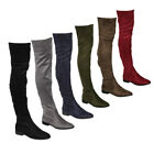 Beston FM32 Women's Stretchy Snug Fit Over Knee High Pull On Block Low Heel Boot