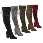 Beston FM30 Women's Lace Up Side Zipper Over Knee High Boots Half Size Small