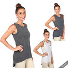 Womens Ladies Sparkly Sequin Sleeveless Hi Low Party Top Tunic Vest Tank Blouse