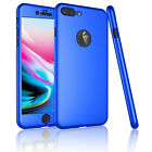 For  iPhone 8 / 8 Plus 360° Full Body Protector Slim Case Cover +Tempered Glass