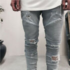 Men's Ripped Skinny Biker Jeans Destroyed Frayed Slim Fit Denim Pant Size 29-38