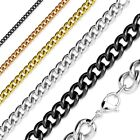 Stainless Steel Curb Cuban Chain Necklace Silver, Rose Gold, Gold, or Black
