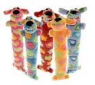 "Loofa Swirl Dog Toy 12"" Long Colorful Pattern Soft Plush Squeaker - Choose Color"