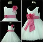Free Shipping Pink White Christmas Wedding Party Flower Girls Dresses AGE 1Y-12Y