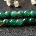 6/8/10/12MM Natural Green Stripe Agate Onyx Gemstone Round Loose Beads 15'' AAA