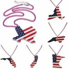 Fashion 3D US Map Resin Printing Pendant Necklace Sweater Chain Women Jewelry