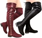 Ladies Womens Over The Knee Thigh High Flat Low Block Heel Long Boots Shoes Size
