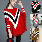 New Fashion Women Autumn Knitted Pullover Poncho Sweater Striped Batwing Cape