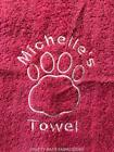 PERSONALISED DOG TOWEL Grooming/Bedding/Bath/washing PAWS Blue/Pink/ PUPPY GIFT