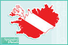 ICELAND Shaped DIVE Flag Vinyl Decal Car Truck Sticker SCUBA Diving Decal