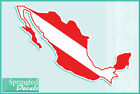 MEXICO Shaped DIVE Flag Vinyl Decal Car Truck Sticker SCUBA Diving Decal