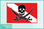 DIVE Flag with Pirate Skull Vinyl Decal Car Truck Sticker SCUBA Diving Decal