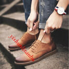 British Style Mens Casual Lace up Leather Retro Formal Shoes Board Deck Pumps