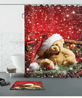 Red Xmas Hat Snow Bear Waterproof Fabric Polyester Shower Curtain &Mat &12Hooks