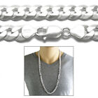 925 Sterling Silver Men's Flat Cuban Curb Chain Necklace 9mm (250 Gauge)