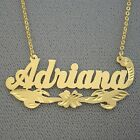 10k Solid Gold Personalized Monogrammed Name Necklace Diamond Cut Flower Jewelry