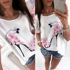Fashion Women Short Sleeve Tops Summer Flower High Heel Casual Loose Top T Shirt