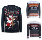 Unisex Mens Xmas Christmas Jumper Funny Santa Reindeer Novelty Knitted Top