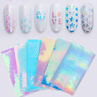 Holo Multi-color 3D Hollow Nail Stickers Star Triangle Adhesive Transfer Sticker