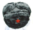 Authentic Russian Military Deep/Gray Ushanka W/ Red Star Hammer and Sickle