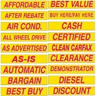 """15"""" Long Red & Yellow Adhesive Car Dealer Windshield Slogan Sticker You Pick"""