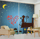 3D Valentine's Starry Cat Blockout Photo Printing Curtain Drapes Fabric Window